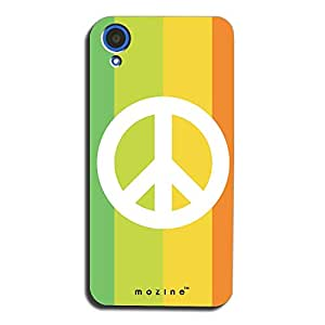 Mozine Rainbow Peace printed mobile back cover for HTC desire 820