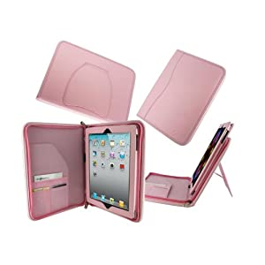 rooCASE Executive Portfolio (Pink) Leather Case Cover with Landscape / Portrait View for Apple iPad 2 Wifi / 3G Model 16GB, 32GB, 64GB