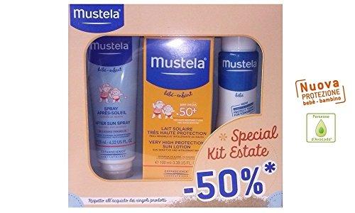 Cofanetto risparmio: latte solare massima protezione SPF 50+, spray doposole, dermo detergete - linea solari Mustela 2016 neonati e bambini