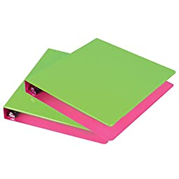 Samsill 1-Inch 2-Tone Binder, Lime/Berry, Pack of 2 (U38946)