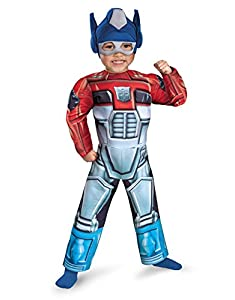 """Optimus Prime Costume, Kids Transformers Rescue Bot Toddler Muscle Outfit, Medium Toddler, Age 3 - 4, HEIGHT 3' 3"""" - 3' 6"""""""