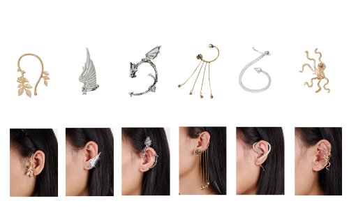 Bundle Monster 6pc Punk Style Ear Wrap Charm Ear Cuff Earring Stud Fashion Accessory for Pierced + Non Pierced Ears - Set 2