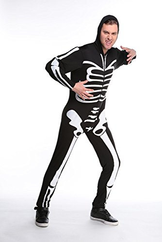 [E-Laurels Scary Cosplay Witch Funny Skeleton Halloween Costume Black Men M] (Homemade Halloween Costumes For Adults Couples)