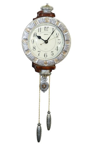 Fabulous Antique Decorative 24X15 Polyresin Hand-Painted Wall Clock w/Tassels - Silver & Gold