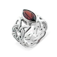 Borre Knot Garnet Ellipse Viking Braided Wedding Band Norse Celtic Sterling Silver Ring