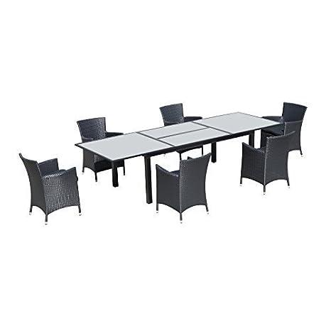 Conjunto muebles jardin de Ratan 1 mesa extensible de comedor 6 sillas mimbre 6 cojines