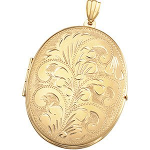 14k Yellow Gold Engraved Oval Locket