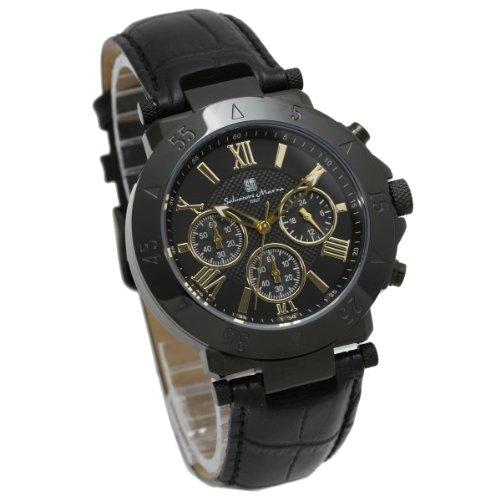 【サルバトーレマーラ】Salvatore Marra メンズ 腕時計 クロノグラフ ブラックダイアル×ブラックケース / ブラック革ベルト 全10色