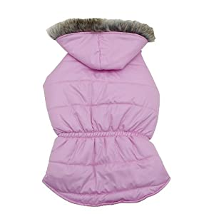 Dogit Dog Coat with Faux Fur Trimmed Hoodie, Large, Rose