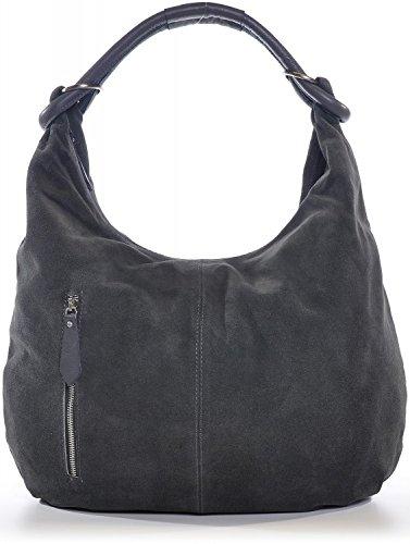CNTMP-Damen-Handtaschen-Hobo-Bags-Schultertaschen-Beutel-Beuteltaschen-Trend-Bags-Velours-Veloursleder-Wildleder-Leder-Tasche-DIN-A4-44x36x4cm-B-x-H-x-T-FarbeGrau-Anthrazit