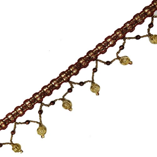 Gold Hand Beaded Fringe Ribbon Decorative Sewing Trim Craft Lace India 4 Yd Freeshipping