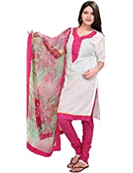 Exotic India Winter-White And Pink Choodidaar Kameez Suit With Thread Em - White