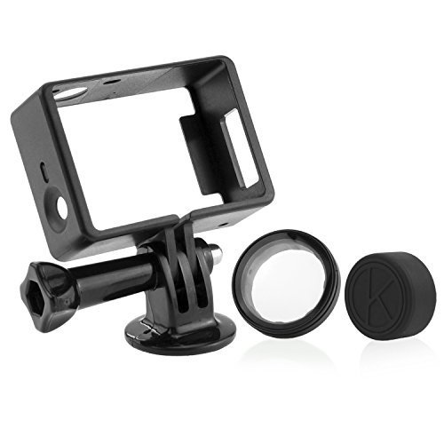 CamKix Frame Mount for GoPro Hero 4, 3+, and 3 / All Slots Fully Accessible - Light and Compact Housing - Includes a Large Thumbscrew / Tripod Mount / Rubber Lens Cap / UV Filter Lens Protector