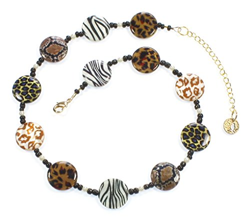 """Take Me On A Safari!"" Animal Print Necklace, 18 Inches"