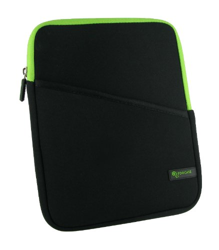 rooCASE Super Bubble Neoprene Sleeve for iPad 2 - Black / Neon Green