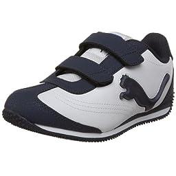PUMA Speeder Illuminescent V Sneaker (Toddler/Little Kid/Big Kid),White/New Navy/Strong Blue,4 M US Toddler
