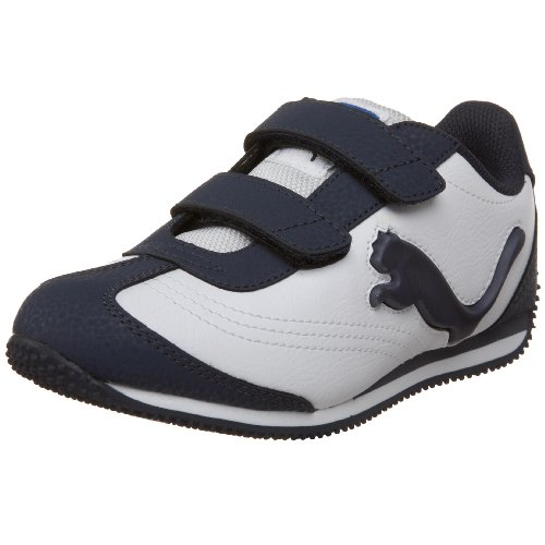 PUMA Speeder Illuminescent Velcro Fashion Sneaker (Toddler/Little Kid/Big Kid),White/New Navy/Strong Blue,6 M US Toddler