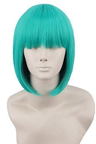 Unisex Short Straight Cosplay Costume Wigs for Women Bob Hair (Peak Green) by Topcosplay