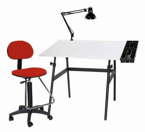 Martin Berkeley 4-pc Combo Black base w/ White Top, Tray Lamp and Drafting Ht. RED Chair 4-pc Combo