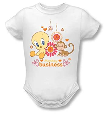 Looney Tunes - Tweety Pie Monkey Business Infant Snapsuit T-Shirt, (White, 6M)