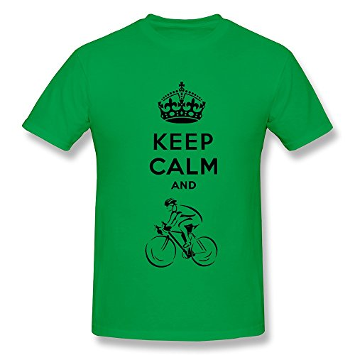 Keep Calm Bicycling Cool O-Neck Forestgreen T Shirts For Men Size Xl