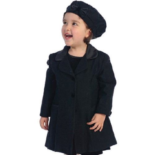 Angels Garment Little Girls Size 7/8 Black Coat Hat Outerwear Set