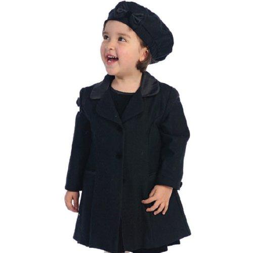 Angels Garment Little Girls Size 7/8 Black Coat Hat Outerwear Set