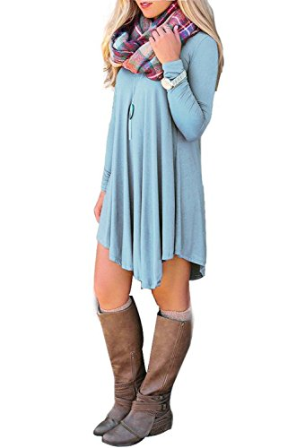 Women's Irregular Hem Long Sleeve Casual T-Shirt Flowy Short Dress Light Blue XL (Pink And Blue Dress compare prices)