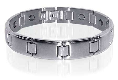 Mens Silver Stainless Steel Magnetic Bracelet 9 Inches