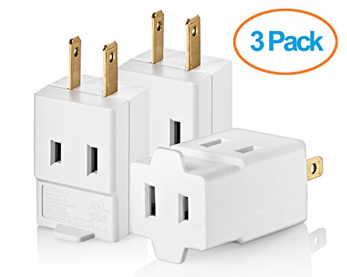 Yubi Power Three Outlet Cube Adapter Single Receptical Non Grounding Adapter- 3 Pack (2 Prong Polarized Plug compare prices)
