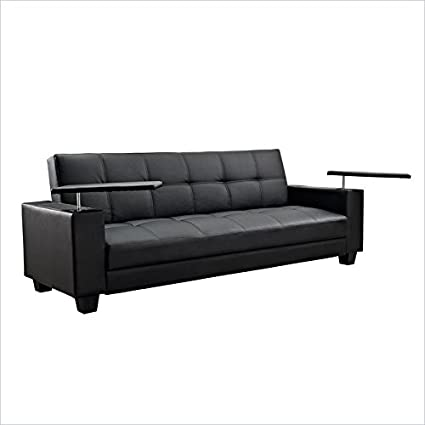Ameriwood Vivo Easy Laptop Tray Convertible Sofa in Black