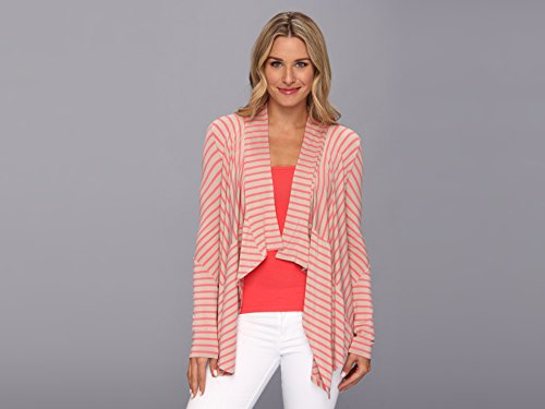 Calvin Klein Women's Stripe Fly Away Daquiri Multi Latte/Daquiri Sweater LG (US 12)