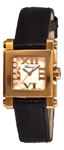 Chopard Women's 275349-5001 LBK Happy Sport Square Black Leather White Dial Watch