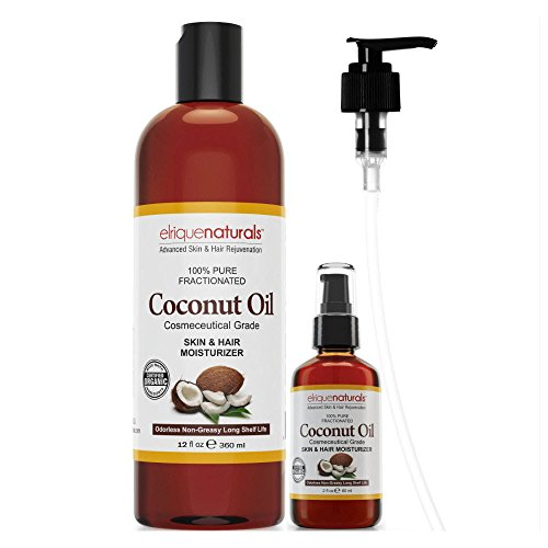 Fractionated Coconut Oil BIG 14 OZ VALUE! Best Rated Base Oil For Aromatherapy, Great Carrier Oil For Essential Oils, Number One Choice Massage Oil! Big 12oz Bottle PLUS 2oz Travel Size Bottle PLUS FREE Pump