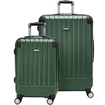 RICARDO BEVERLY HILLS LIGHTWEIGHT POLYCARBONATE EXPANDABLE SPINNER 2PC SET GREEN LUGGAGE