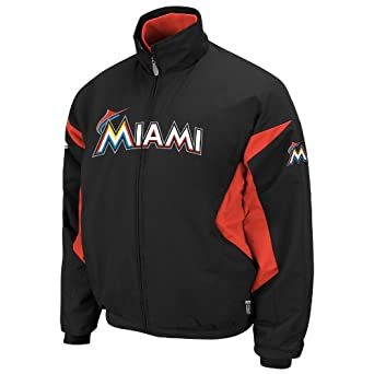 MLB Miami Marlins Therma Base Premier Jacket, Black Fire Red by Majestic