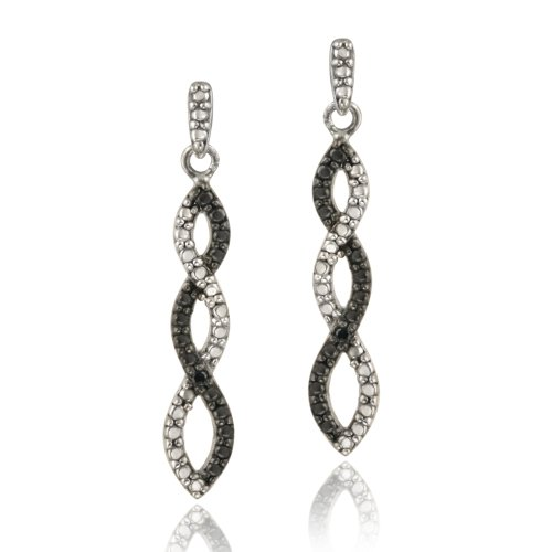 Sterling Silver Black Diamond Accent Infinity Dangle Earrings