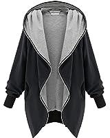 Minetom Autumn Ladies,Womens Hoodie Hooded Parka Womens Parka Hooded Zipper Jacket Oversize Cardigan Blazer Coat Outwear Black Green
