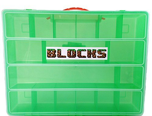Blocks Organizer for Mini Figures, Animals, Tools, Weapons & Building Bricks, Storage Case Fits many LEGO, Minecraft MiniFigs, & Speciality Pieces, Sturdy, Portable Lightweight Green Case with handle