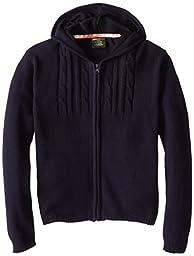 Eddie Bauer Big Girls Front Zip Hooded Sweater, Navy,10/12