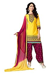 Pandadi Creation Women's Cotton Yellow Color Dress Material with Naznin Dupatta ( Rs.50 Off )