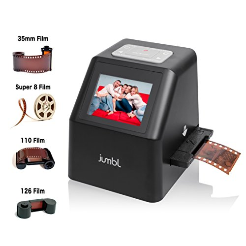 Jumbl High-Resolution 22MP All-In-1 Scanner/Digitizer – Converts 35mm Negative Films, 35mm Slides, 110, 126, and Super 8 Film to 22-Megapixel Digital JPEGs – No Computer/Software Required to Operate – Features 2.4″ Color LCD & TV Out – Includes Speed-Load Adapters for Fast Repeat Scanning of Slides & Negatives