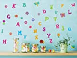 UberLyfe Colourful Alphabet with Butterfly, Flower Wall Sticker (Wall Covering Area: 100cm x 150cm)