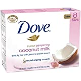Dove Purely Pampering Beauty Bar, Coconut Milk with Jasmine Petals 4 oz, 8 Bar