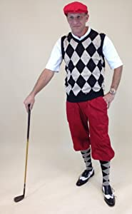 Mens Golf Outfit - Solid Red Stewart Knickers, Black Khaki Red Overstitch Sweater,... by Kings Cross Knickers