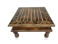 Wood Low height Stool Wooden Handicrafts Chowki Big (Black, LXBXH: 15X15X8