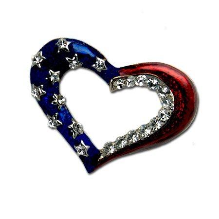 Patriotic Outline Heart Brooch/Pin