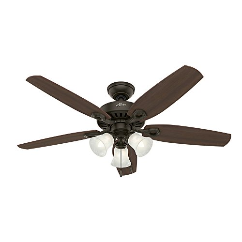 Hunter 53238 Builder Plus 52-Inch Ceiling Fan with Five Harvest Mahogany/Brazilian Cherry Blades and Swirled Marble Glass Light Kit, New Bronze (52 Inch Hunter Ceiling Fans compare prices)
