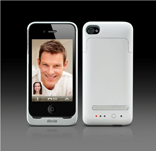 iPhone4用バッテリー付き(2000mAh)ケース ホワイト Dexim Super-Juice Power Case for iPhone 4 DCA224-W