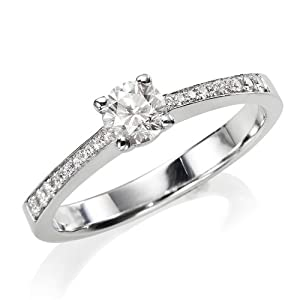 Diamond Engagement Ring in 14K Gold / White Certified, Round, 0.42 Carat, F Color, VS2 Clarity